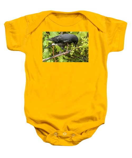 Currawong On A Vine Baby Onesie