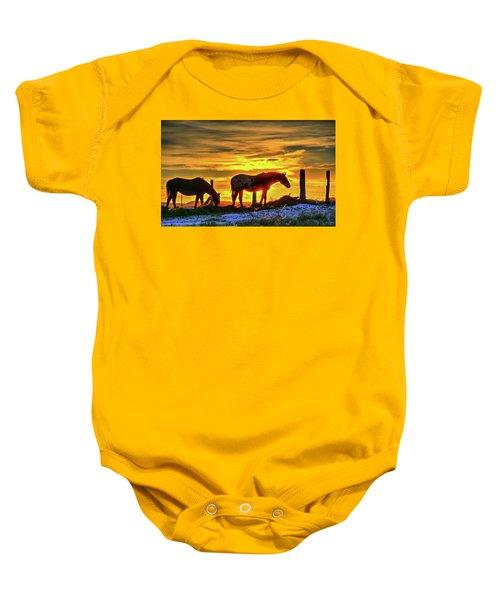 Dawn Horses Baby Onesie