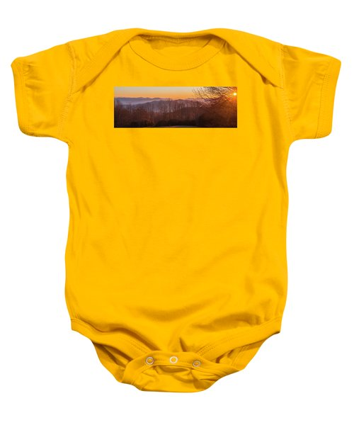 Deep Orange Sunrise Baby Onesie