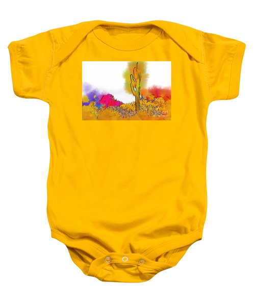 Desert Saguaro In Subtle Abstract Baby Onesie