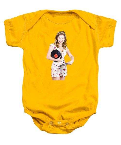 Dj Disco Pin-up Girl Rocking Out To Retro Vinyl  Baby Onesie
