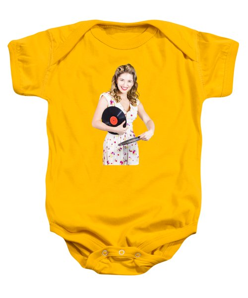 Baby Onesie featuring the photograph Dj Disco Pin-up Girl Rocking Out To Retro Vinyl  by Jorgo Photography - Wall Art Gallery
