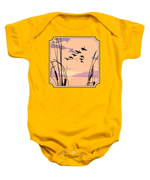 Ducks Flying Over The Lake Abstract Sunset - Square Format Baby Onesie by Walt Curlee