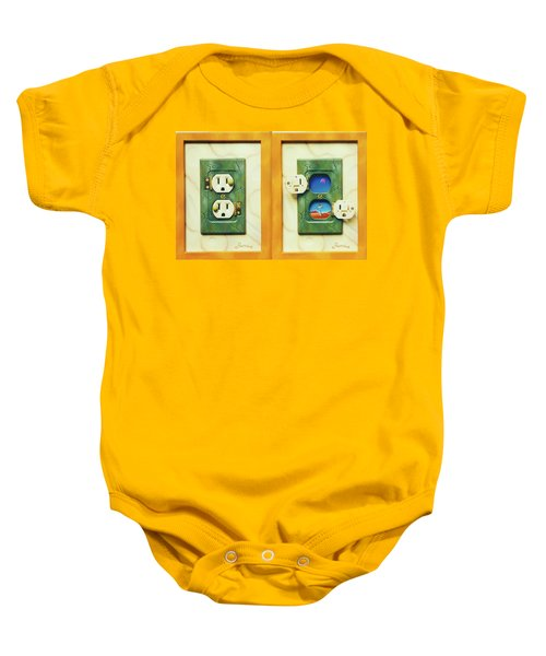Electric View Miniature Shown Closed And Open Baby Onesie