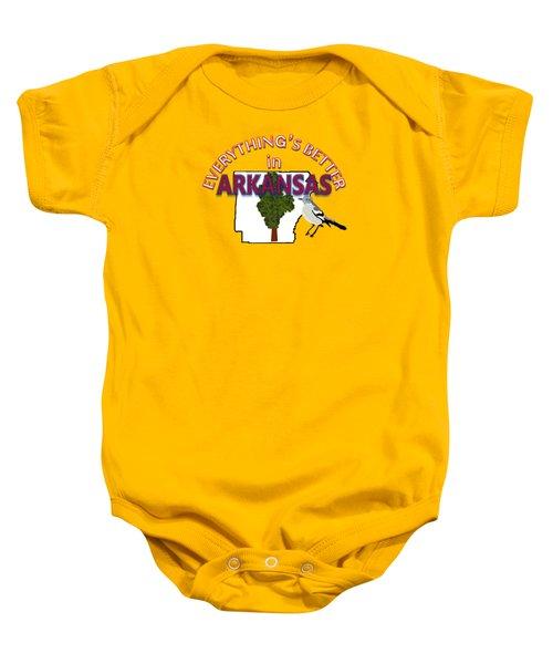 Everything's Better In Arkansas Baby Onesie by Pharris Art
