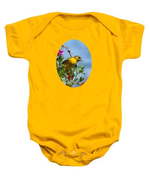 Female Baltimore Oriole In A Flower Basket Baby Onesie by Christina Rollo