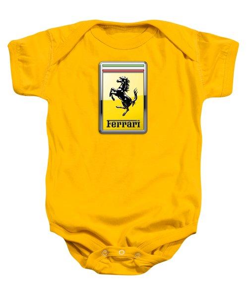 Ferrari 3d Badge- Hood Ornament On Yellow Baby Onesie by Serge Averbukh