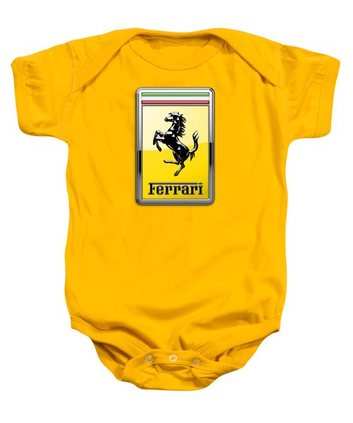 Ferrari 3d Badge- Hood Ornament On Yellow Baby Onesie
