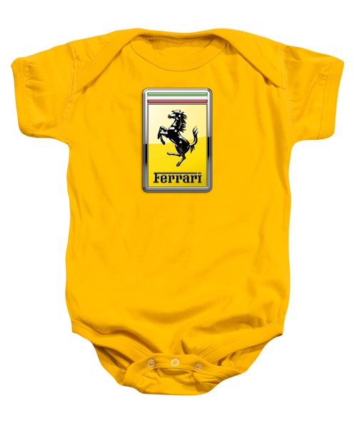 Ferrari 3d Badge- Hood Ornament On Yellow Baby Onesie