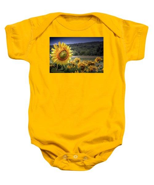Field Of Sunflowers Baby Onesie