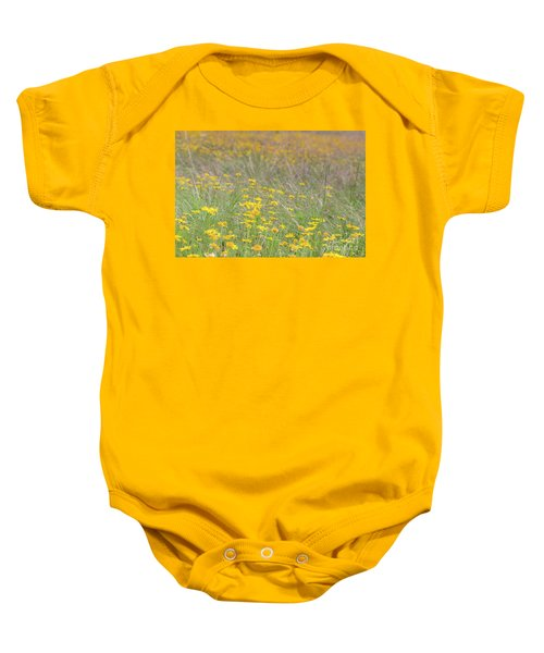 Field Of Yellow Flowers In A Sunny Spring Day Baby Onesie