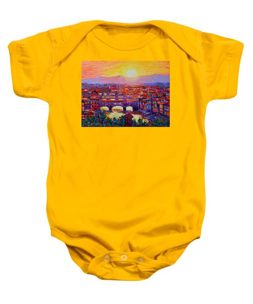 Florence Sunset Over Ponte Vecchio Abstract Impressionist Knife Oil Painting By Ana Maria Edulescu Baby Onesie