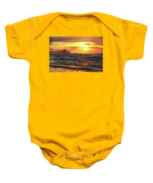 Folly Beach Pier Sunrise Baby Onesie