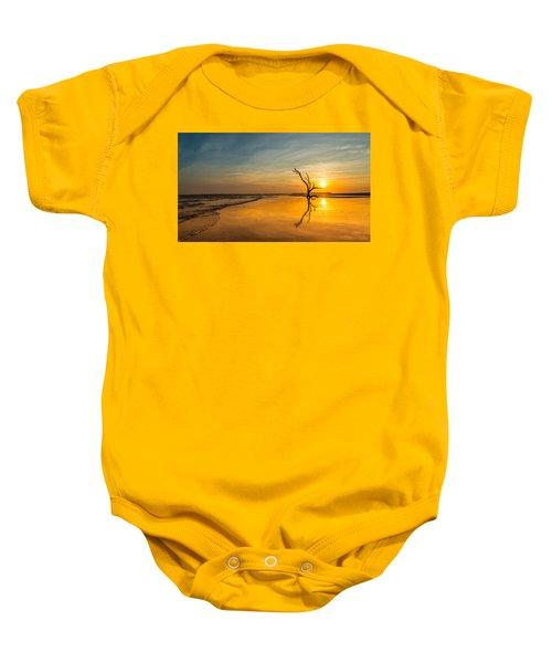 Folly Beach Skeleton Tree At Sunset - Folly Beach Sc Baby Onesie