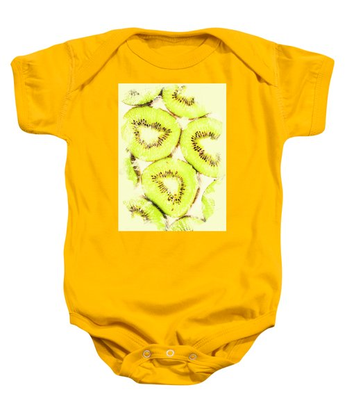 Full Frame Shot Of Fresh Kiwi Slices With Seeds Baby Onesie