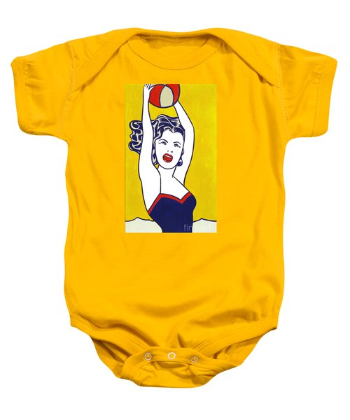 Girl With Ball - Pop Art - Roy Lichtenstein Baby Onesie