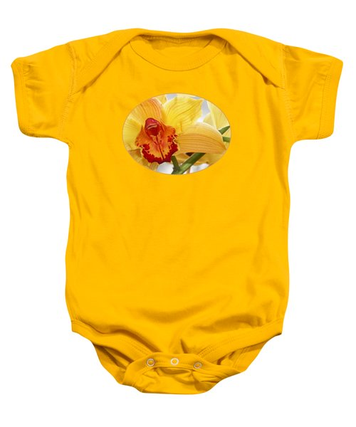Golden Cymbidium Orchid Baby Onesie by Gill Billington