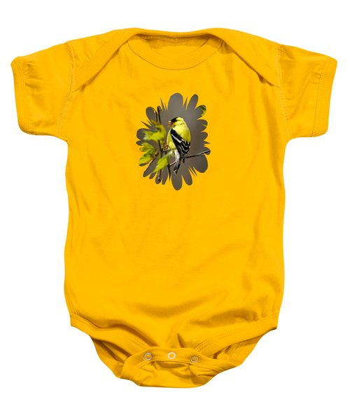 Goldfinch Suspended In Song Baby Onesie by Christina Rollo