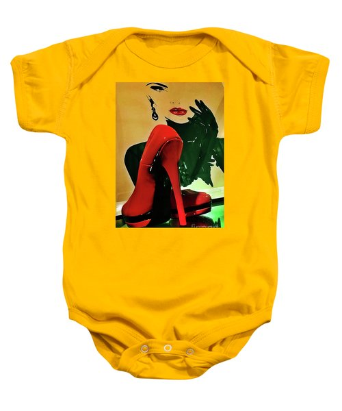 Grace With Red High Heels Baby Onesie
