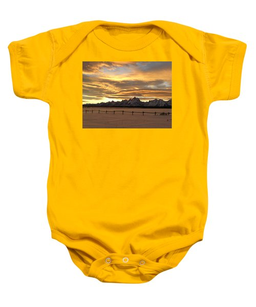 Grand Tetons In January Glory Baby Onesie