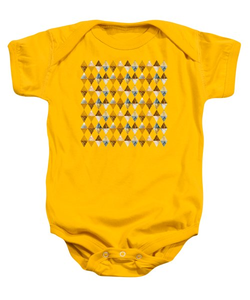 Graphic Pattern Funky Triangles - Golden Baby Onesie
