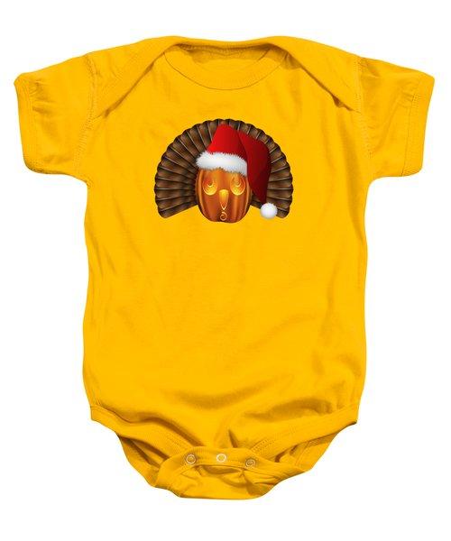 Hallowgivingmas Santa Turkey Pumpkin Baby Onesie by MM Anderson