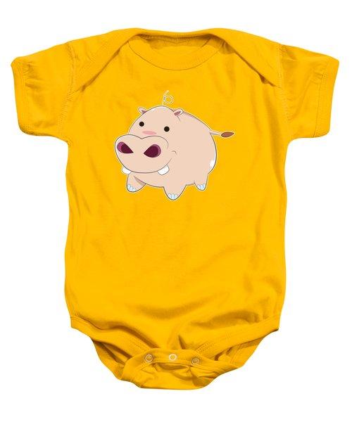 Happy Cartoon Baby Hippo Baby Onesie by Catifornia Shop