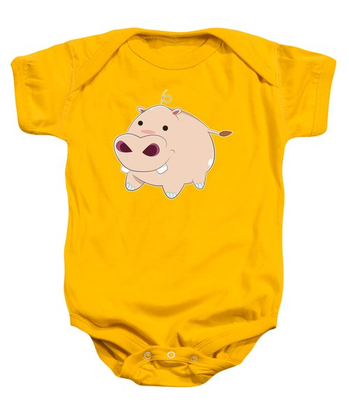 Happy Cartoon Baby Hippo Baby Onesie
