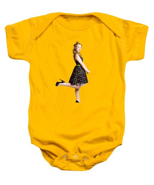 Baby Onesie featuring the photograph Happy Woman In Retro Dress by Jorgo Photography - Wall Art Gallery