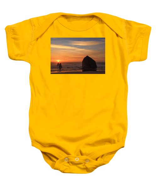 Haystack Rock Ocean Sunset, Cannon Beach, Oregon Baby Onesie