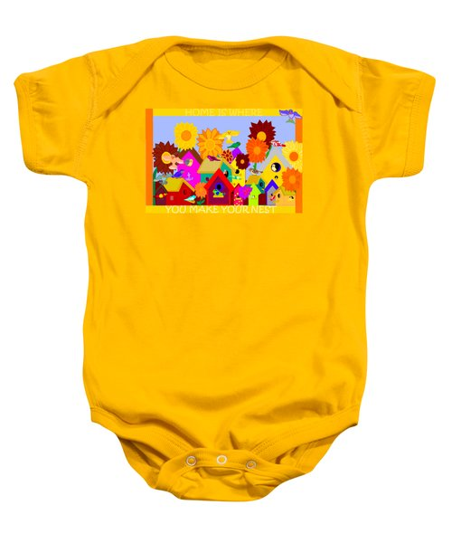 Home Is Where You Make Your Nest Baby Onesie by Pharris Art