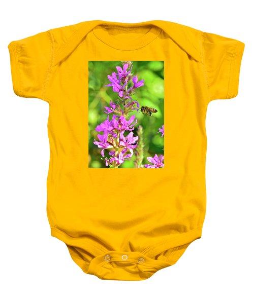 Honey Bee In Flight Baby Onesie