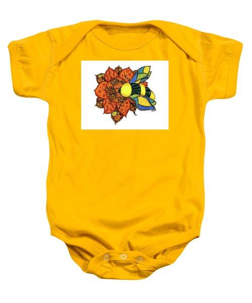 Honeybee On A Flower Baby Onesie