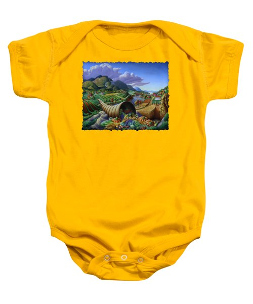 Horn Of Plenty - Cornucopia - Autumn Thanksgiving Harvest Landscape Oil Painting - Food Abundance Baby Onesie