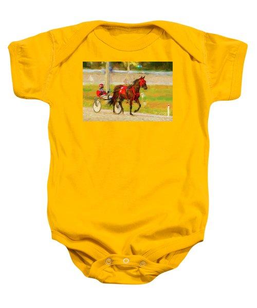 Horse, Harness And Jockey Baby Onesie