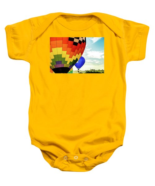 Hot Air Balloons Over Trees Baby Onesie