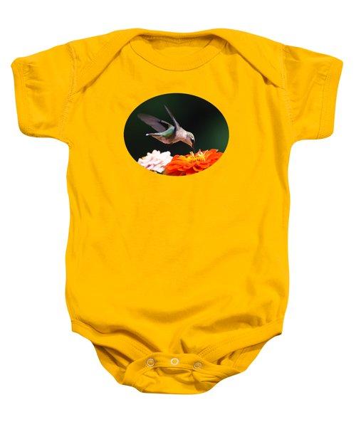 Hummingbird In Flight With Orange Zinnia Flower Baby Onesie by Christina Rollo