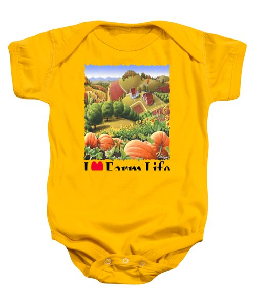 I Love Farm Life - Appalachian Pumpkin Patch - Rural Farm Landscape Baby Onesie