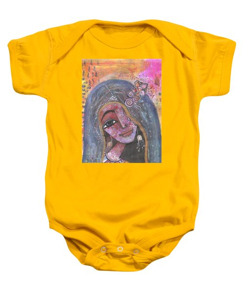 Indian Rajasthani Woman With Colorful Background  Baby Onesie