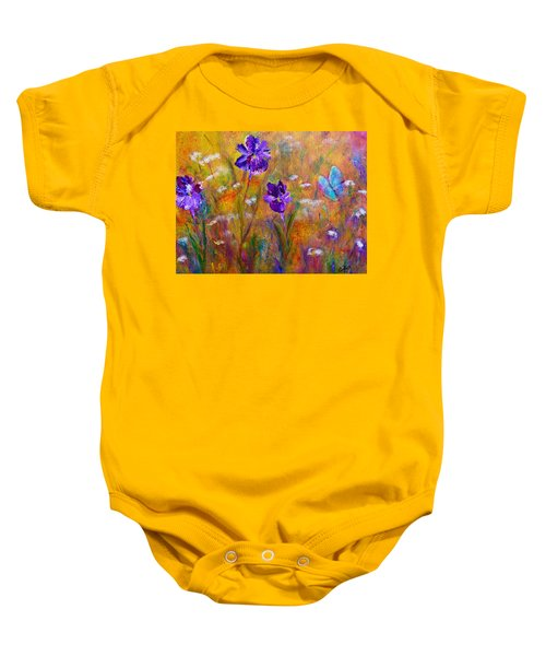 Iris Wildflowers And Butterfly Baby Onesie