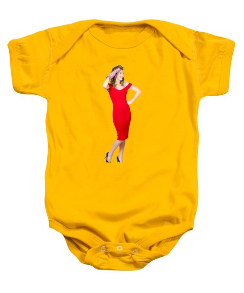 Isolated Female Pin Up Cook On Stove Watch Baby Onesie by Jorgo Photography - Wall Art Gallery