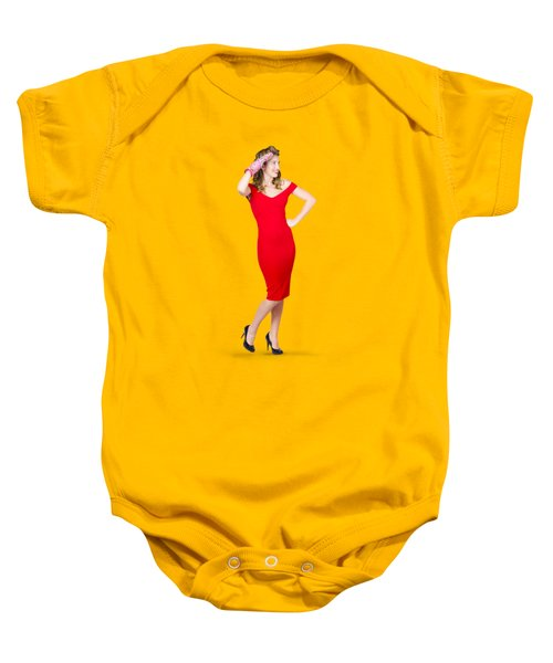 Isolated Female Pin Up Cook On Stove Watch Baby Onesie