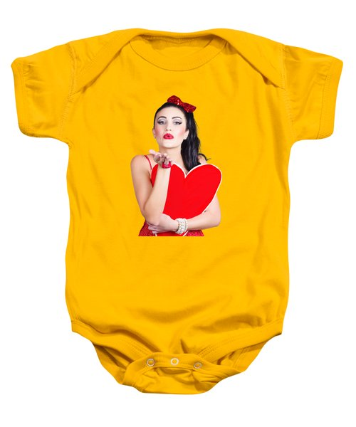 Isolated Pin Up Woman Holding A Heart Shaped Sign Baby Onesie