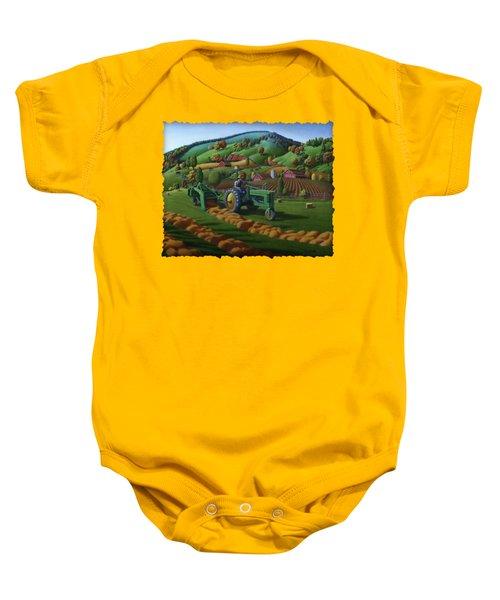 John Deere Tractor Baling Hay Farm Folk Art Landscape - Vintage - Americana Decor -  Painting Baby Onesie