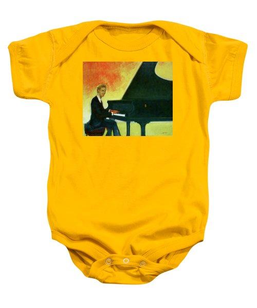 Justin Levitt Red Black Yellow Baby Onesie