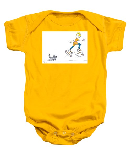 Kangoo Jumps Bouncy Shoes Walking The Dog Keep Fit Cartoon Baby Onesie