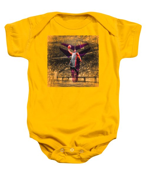 Kobe Bryant Black Mamba Digital Painting Baby Onesie by David Haskett