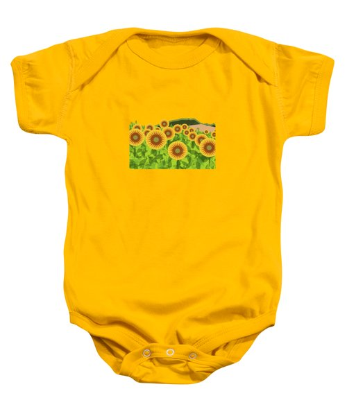 Land Of Sunflowers. Baby Onesie by Absentis Designs