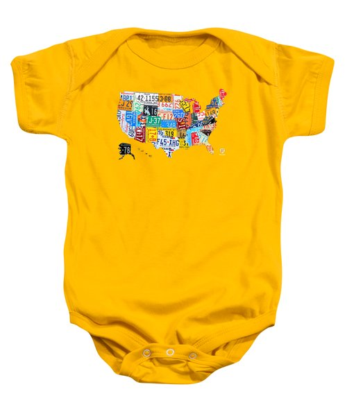License Plate Art Map Of The United States On Yellow Board Baby Onesie by Design Turnpike