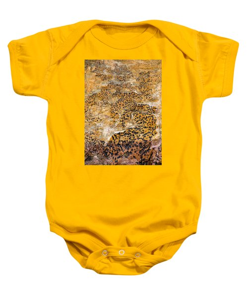 Baby Onesie featuring the photograph Lichen Abstract, Bhimbetka, 2016 by Hitendra SINKAR